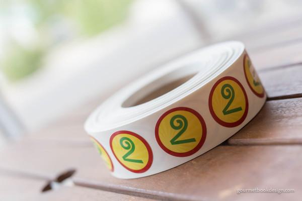 "Vital Foods V stickers, 1.5"" circle"